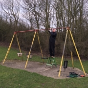 14 March 2015 - The old swings were removed ready for new swings to be fitted.